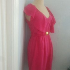 H&M size 8 bright pink v-neck ruffled Belted dress
